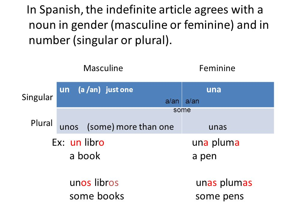 In Spanish, the indefinite article agrees with a noun in gender (masculine or feminine) and in number (singular or plural). un (a /an) just one una un