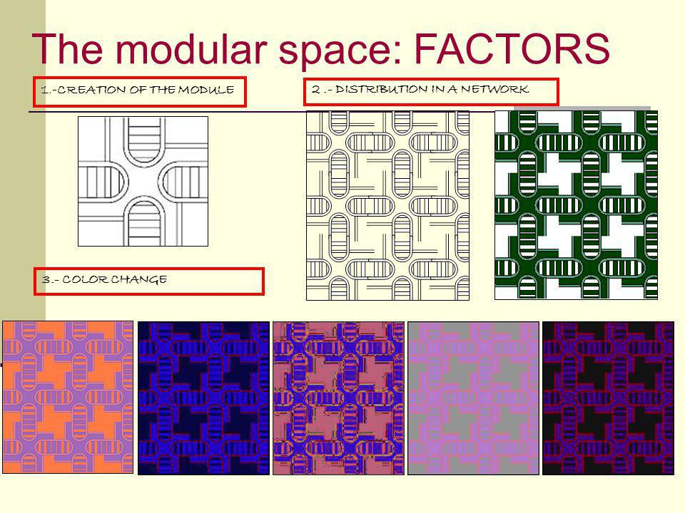 The modular space: FACTORS 3.- COLOR CHANGE 1.- CREATION OF THE MODULE 2.- DISTRIBUTION IN A NETWORK
