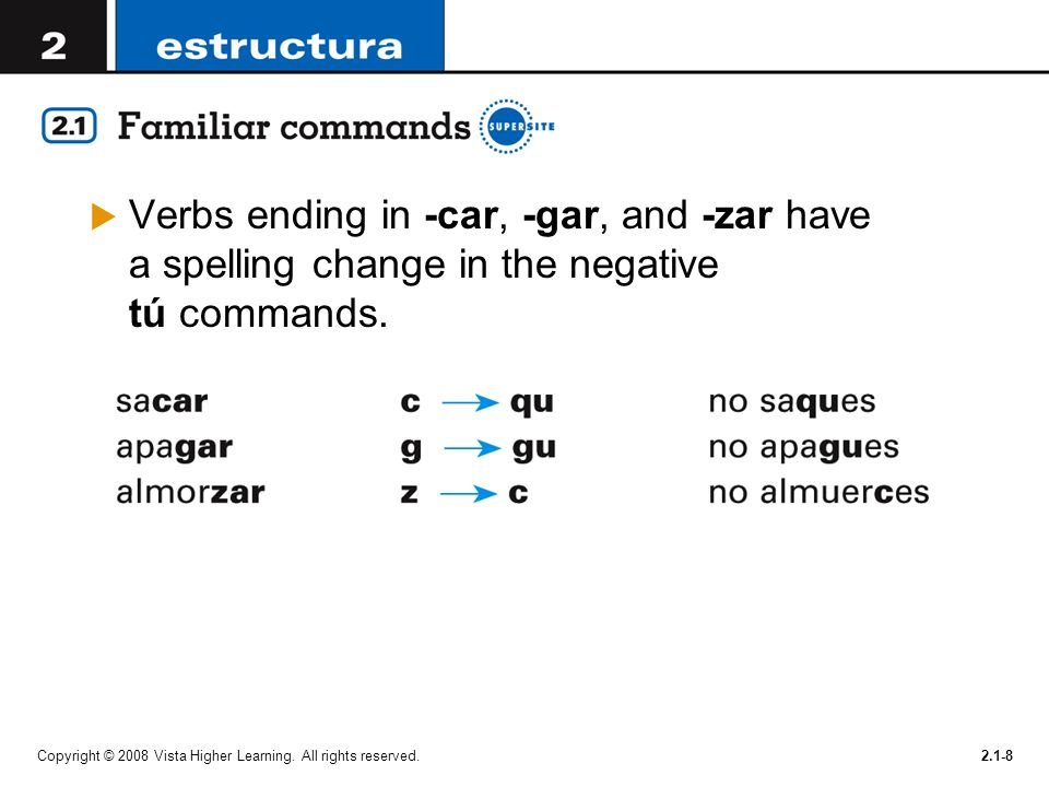 Copyright © 2008 Vista Higher Learning. All rights reserved.2.1-8 Verbs ending in -car, -gar, and -zar have a spelling change in the negative tú comma