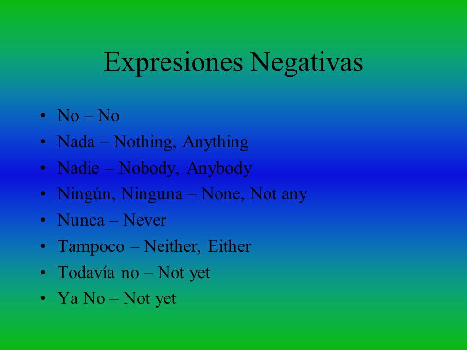 Expresiones Negativas No – No Nada – Nothing, Anything Nadie – Nobody, Anybody Ningún, Ninguna – None, Not any Nunca – Never Tampoco – Neither, Either