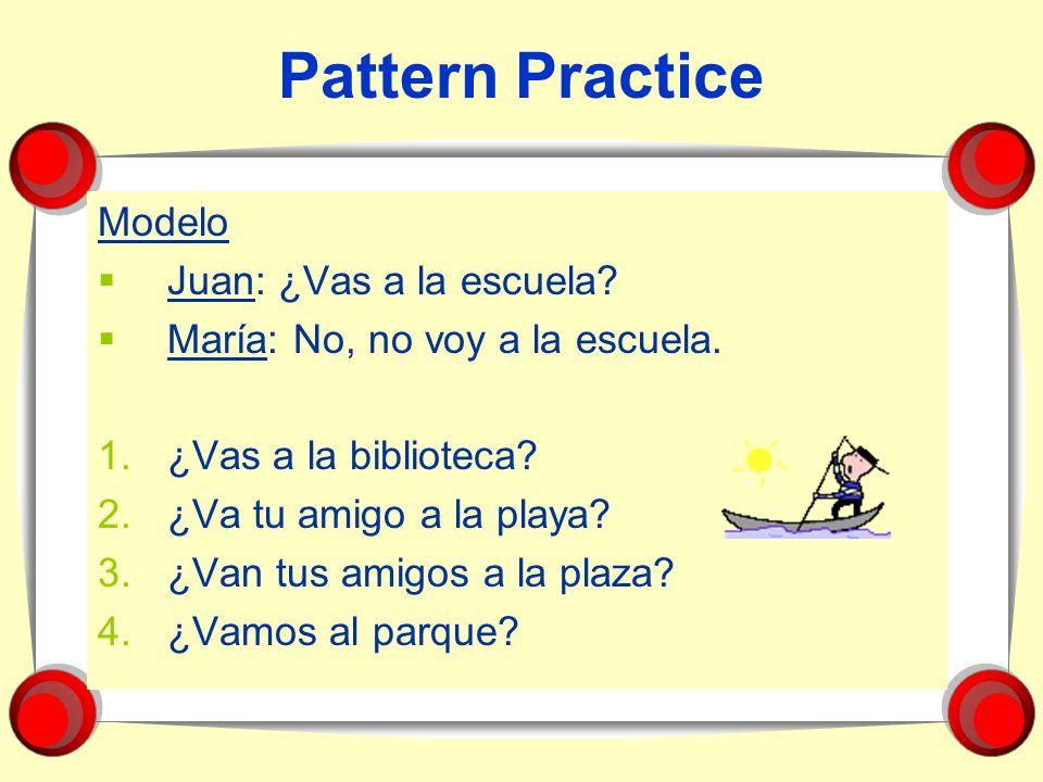 Pattern Practice Modelo Juan: ¿Vas a la escuela? María: No, no voy a la escuela. 1.¿Vas a la biblioteca? 2.¿Va tu amigo a la playa? 3.¿Van tus amigos