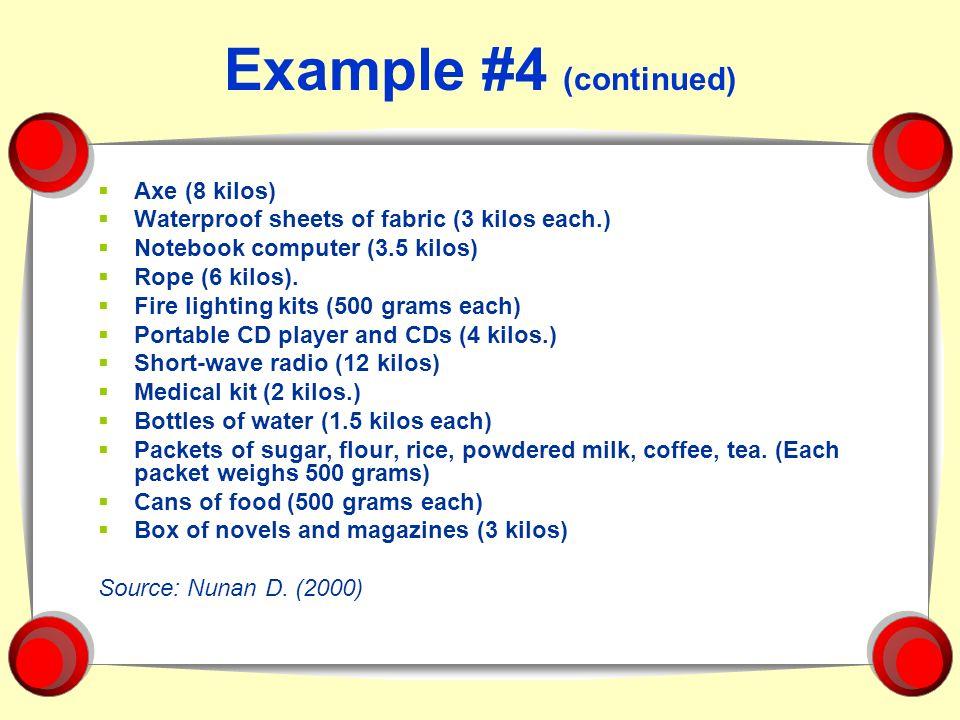 Example #4 (continued) Axe (8 kilos) Waterproof sheets of fabric (3 kilos each.) Notebook computer (3.5 kilos) Rope (6 kilos). Fire lighting kits (500
