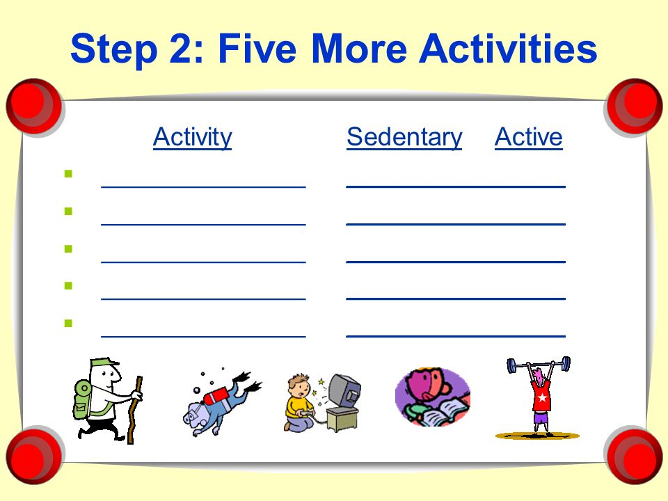 Step 2: Five More Activities Activity ______________ Sedentary Active _______________
