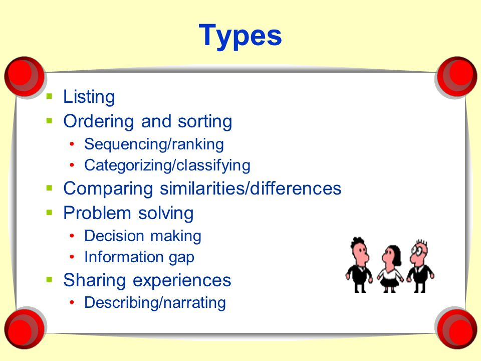 Types Listing Ordering and sorting Sequencing/ranking Categorizing/classifying Comparing similarities/differences Problem solving Decision making Info