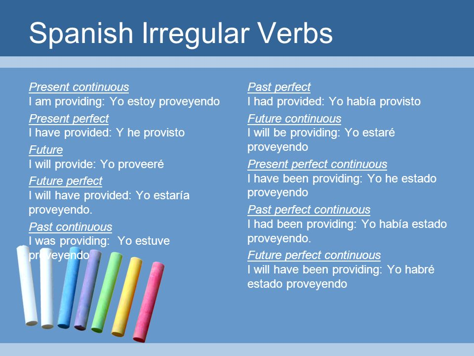 Spanish Irregular Verbs Present continuous I am providing: Yo estoy proveyendo Present perfect I have provided: Y he provisto Future I will provide: Yo proveeré Future perfect I will have provided: Yo estaría proveyendo.