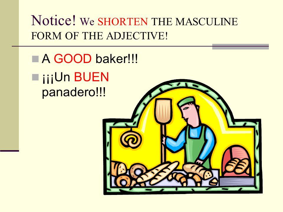 Notice! We SHORTEN THE MASCULINE FORM OF THE ADJECTIVE! A GOOD baker!!! ¡¡¡Un BUEN panadero!!!