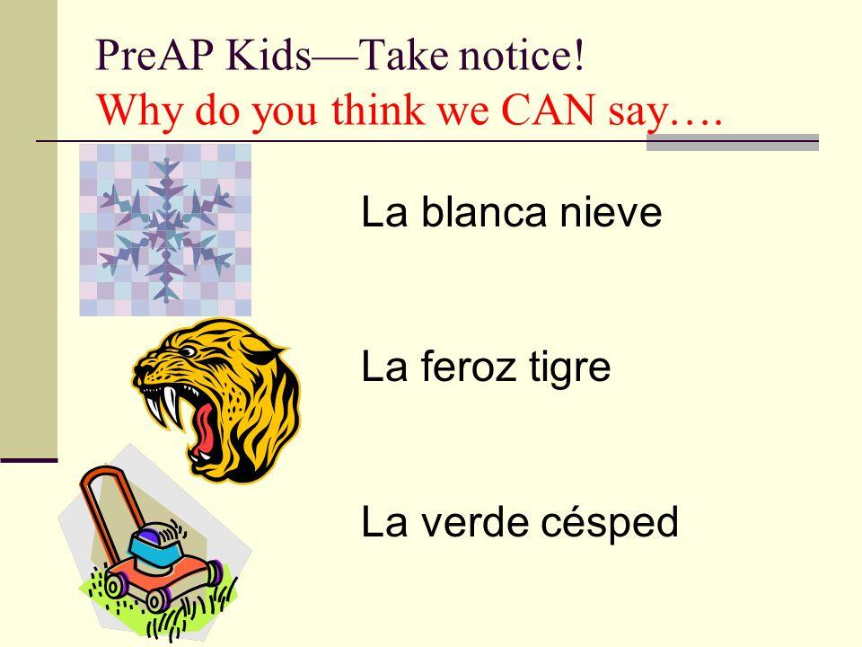 PreAP KidsTake notice! Why do you think we CAN say…. La blanca nieve La feroz tigre La verde césped