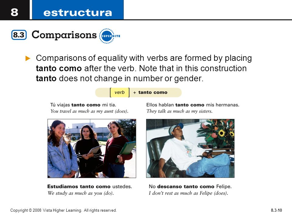 Copyright © 2008 Vista Higher Learning. All rights reserved.8.3-10 Comparisons of equality with verbs are formed by placing tanto como after the verb.