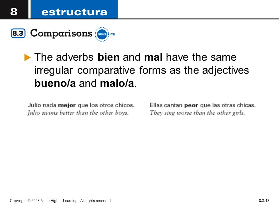 Copyright © 2008 Vista Higher Learning. All rights reserved.8.3-13 The adverbs bien and mal have the same irregular comparative forms as the adjective