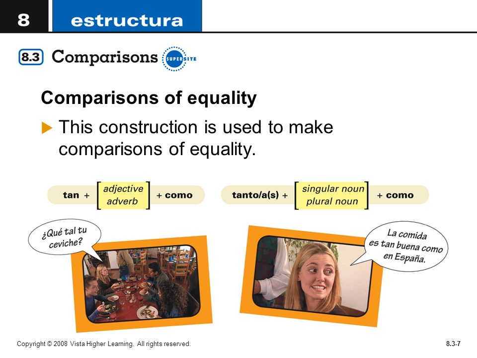 Copyright © 2008 Vista Higher Learning. All rights reserved.8.3-7 Comparisons of equality This construction is used to make comparisons of equality.