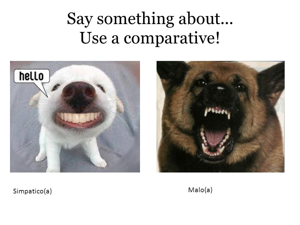 Simpatico(a) Malo(a) Say something about... Use a comparative!