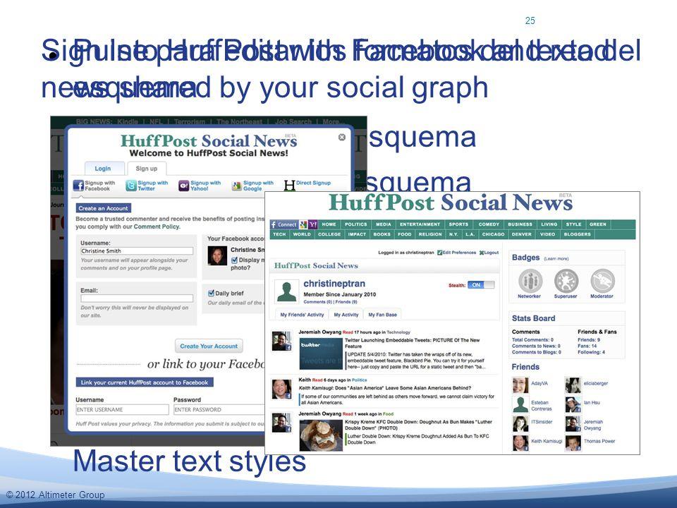 © 2012 Altimeter Group Pulse para editar los formatos del texto del esquema Segundo nivel del esquema Tercer nivel del esquema Cuarto nivel del esquem