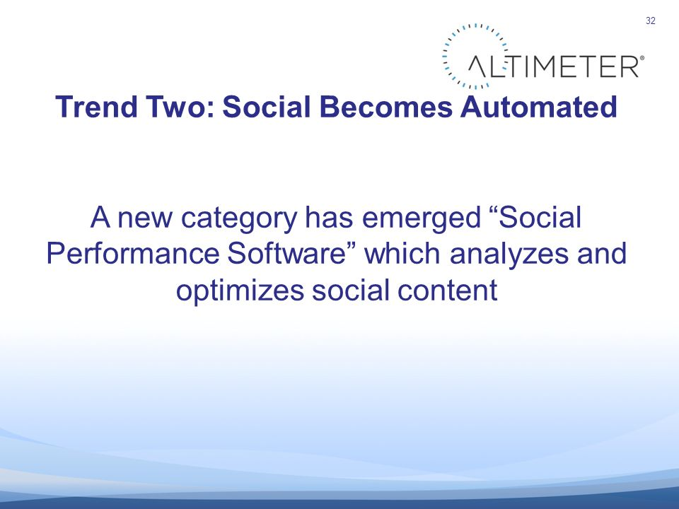 32 Trend Two: Social Becomes Automated A new category has emerged Social Performance Software which analyzes and optimizes social content