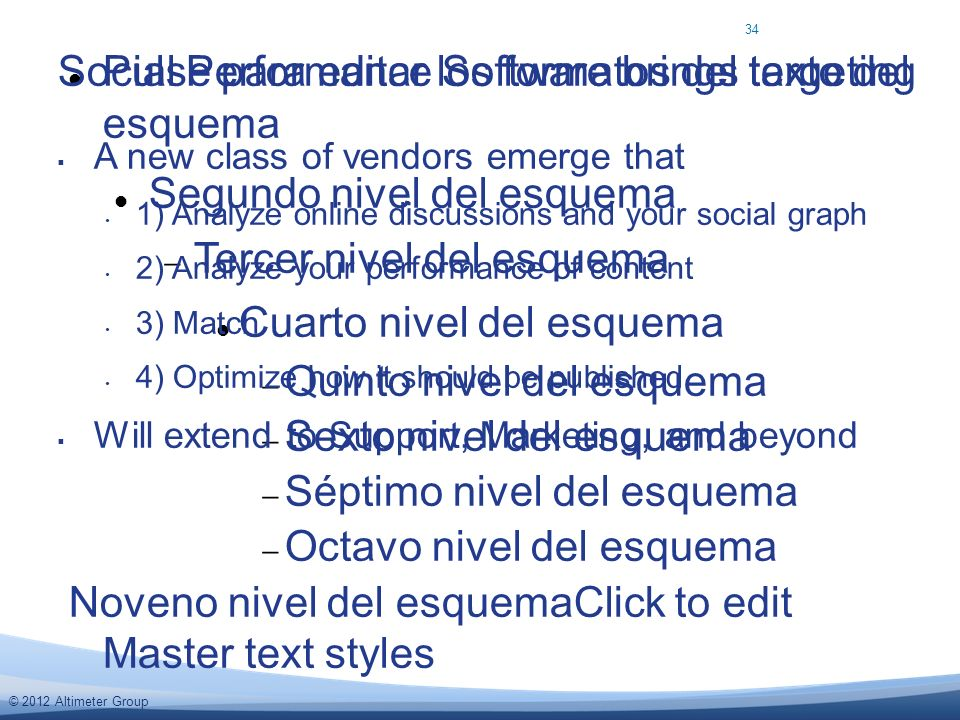 © 2012 Altimeter Group Pulse para editar los formatos del texto del esquema Segundo nivel del esquema Tercer nivel del esquema Cuarto nivel del esquema Quinto nivel del esquema Sexto nivel del esquema Séptimo nivel del esquema Octavo nivel del esquema Noveno nivel del esquemaClick to edit Master text styles A new class of vendors emerge that 1) Analyze online discussions and your social graph 2) Analyze your performance of content 3) Match 4) Optimize how it should be published Will extend to Support, Marketing, and beyond Social Performance Software brings targeting 34