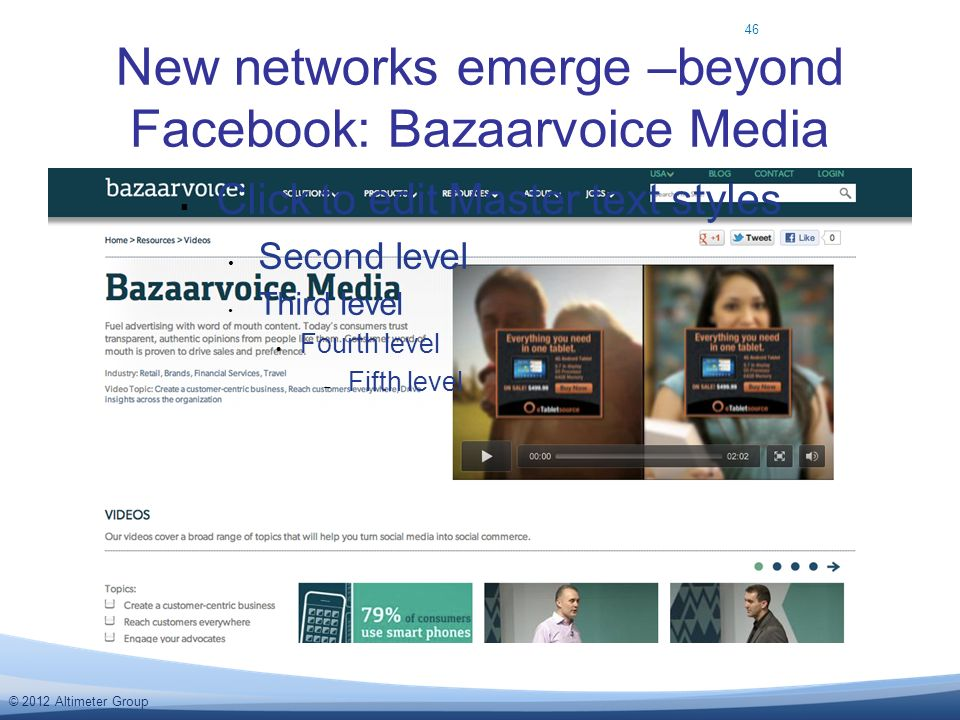 © 2012 Altimeter Group New networks emerge –beyond Facebook: Bazaarvoice Media Click to edit Master text styles Second level Third level Fourth level Fifth level 46