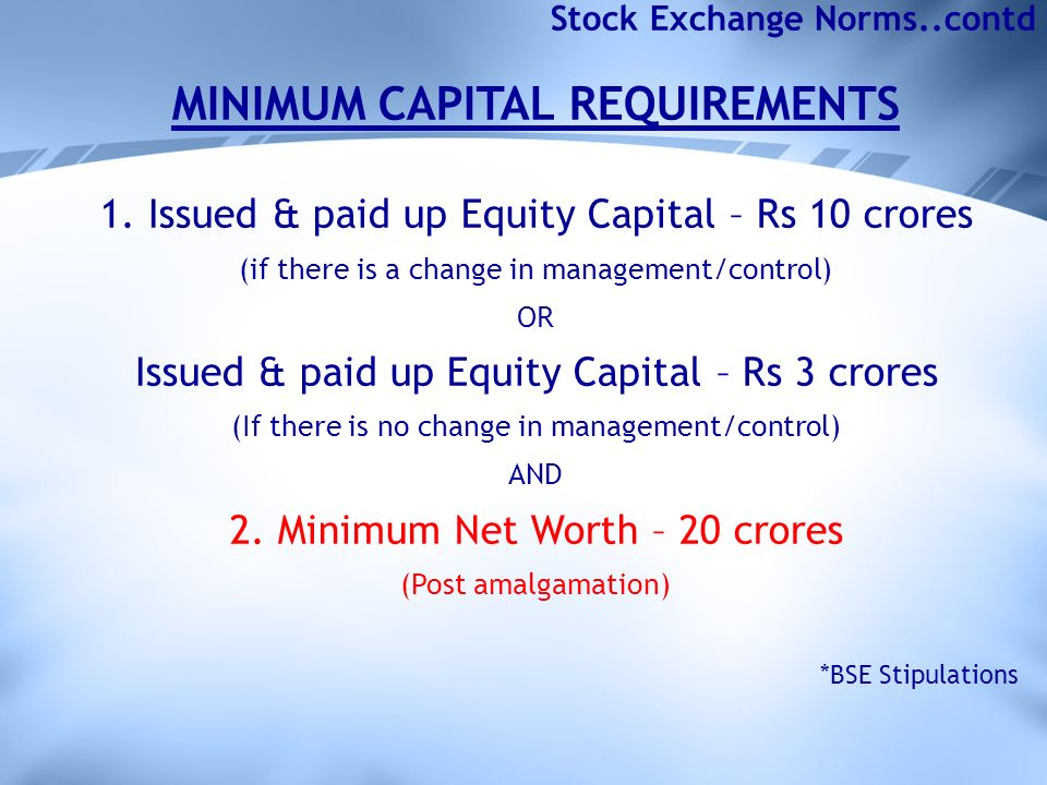Stock Exchange Norms..contd MINIMUM CAPITAL REQUIREMENTS 1.
