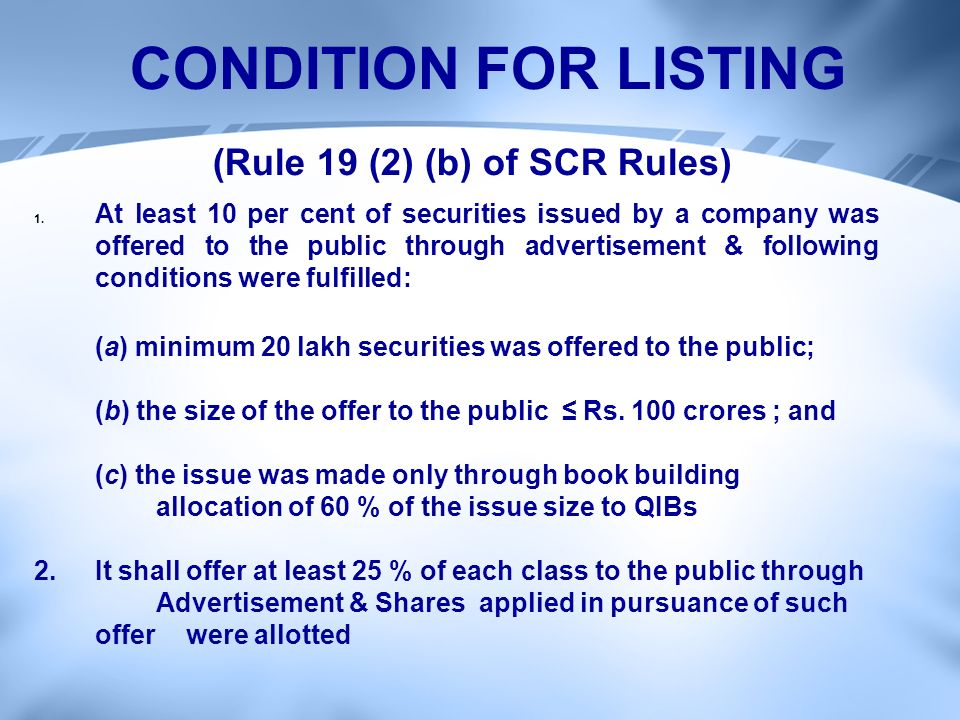1. At least 10 per cent of securities issued by a company was offered to the public through advertisement & following conditions were fulfilled: (a) m