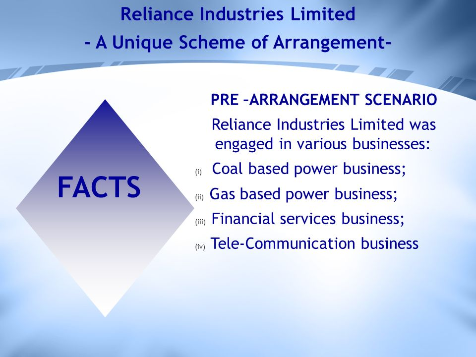 Reliance Industries Limited - A Unique Scheme of Arrangement- FACTS PRE –ARRANGEMENT SCENARIO Reliance Industries Limited was engaged in various businesses: (i) Coal based power business; (ii) Gas based power business; (iii) Financial services business; (iv) Tele-Communication business