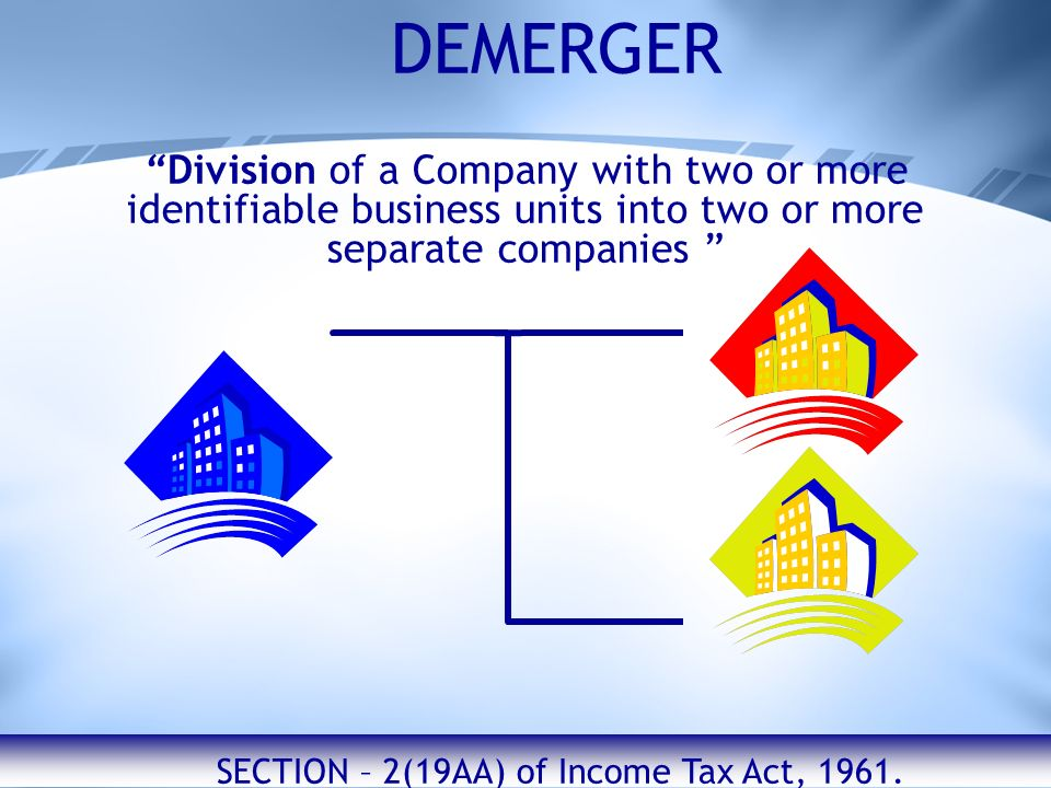 DEMERGER Division of a Company with two or more identifiable business units into two or more separate companies SECTION – 2(19AA) of Income Tax Act, 1961.