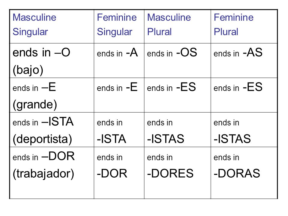Masculine Singular Feminine Singular Masculine Plural Feminine Plural ends in –O (bajo) ends in -A ends in -OS ends in -AS ends in –E (grande) ends in -E ends in -ES ends in –ISTA (deportista) ends in -ISTA ends in -ISTAS ends in -ISTAS ends in –DOR (trabajador) ends in -DOR ends in -DORES ends in -DORAS