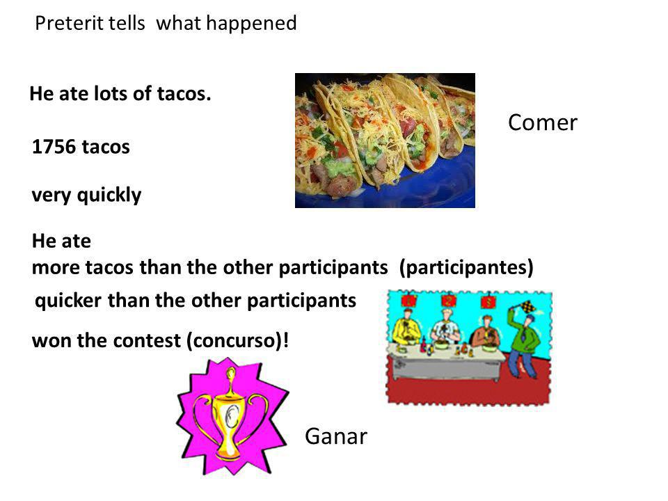 He ate lots of tacos. very quickly 1756 tacos He ate more tacos than the other participants (participantes) won the contest (concurso)! Comer Ganar Pr