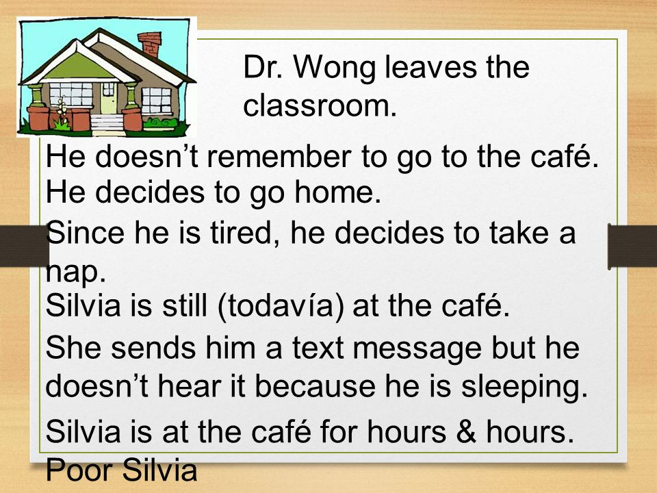 Dr. Wong leaves the classroom. He doesnt remember to go to the café. He decides to go home. Since he is tired, he decides to take a nap. Silvia is sti
