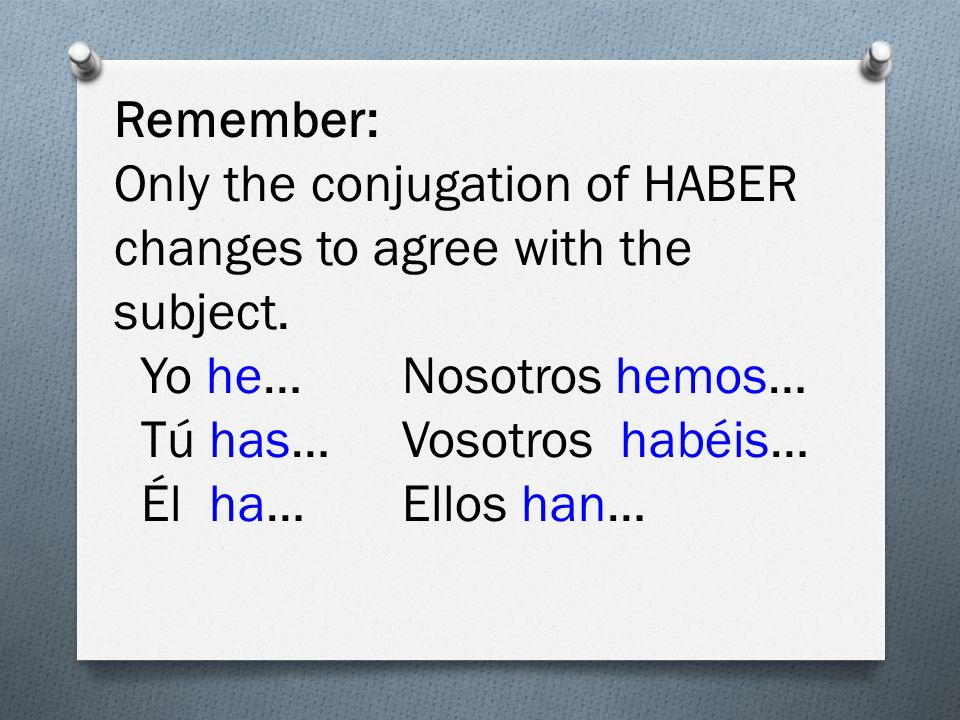 Remember: Only the conjugation of HABER changes to agree with the subject.