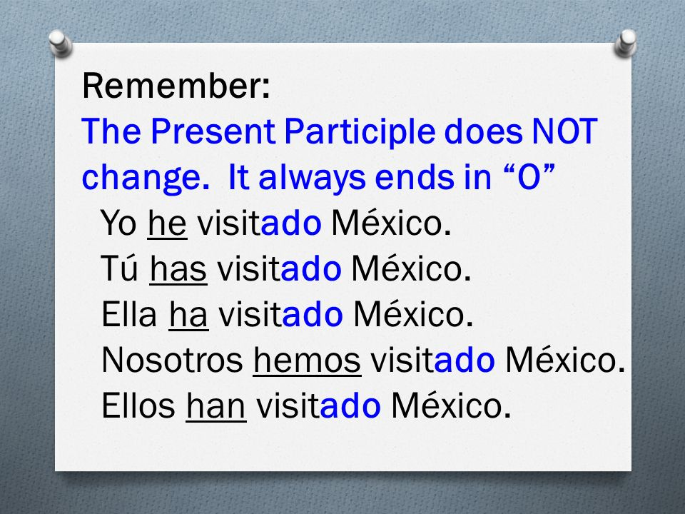 Remember: The Present Participle does NOT change. It always ends in O Yo he visitado México.