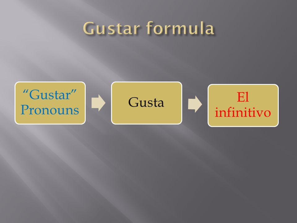 Gustar Pronouns Gusta El infinitivo