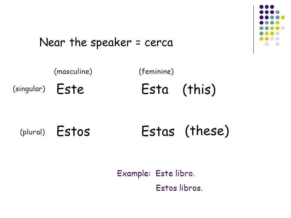 Far away from the speaker = lejos Ese Esos Esa Esas (that) (those) (singular) (plural) (masculine)(feminine) Example: Esa mochila.