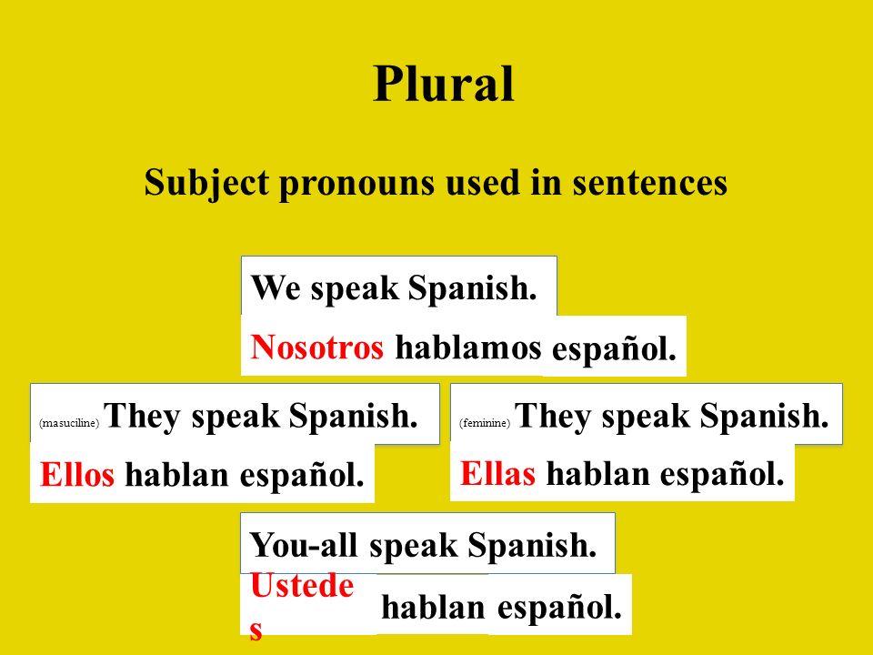 Plural Subject pronouns used in sentences We speak Spanish. Nosotroshablamos español. (masuciline) They speak Spanish. You-all speak Spanish. (feminin