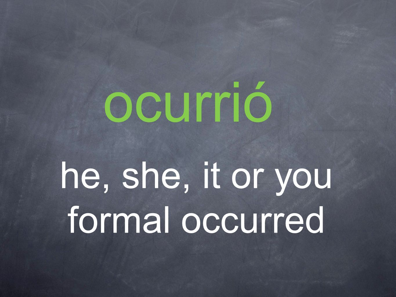 ocurrió he, she, it or you formal occurred