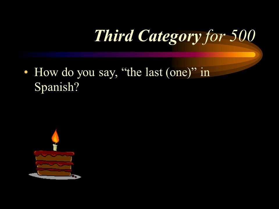 Answer to Third Category for 400 El piso doce. Pick a Category