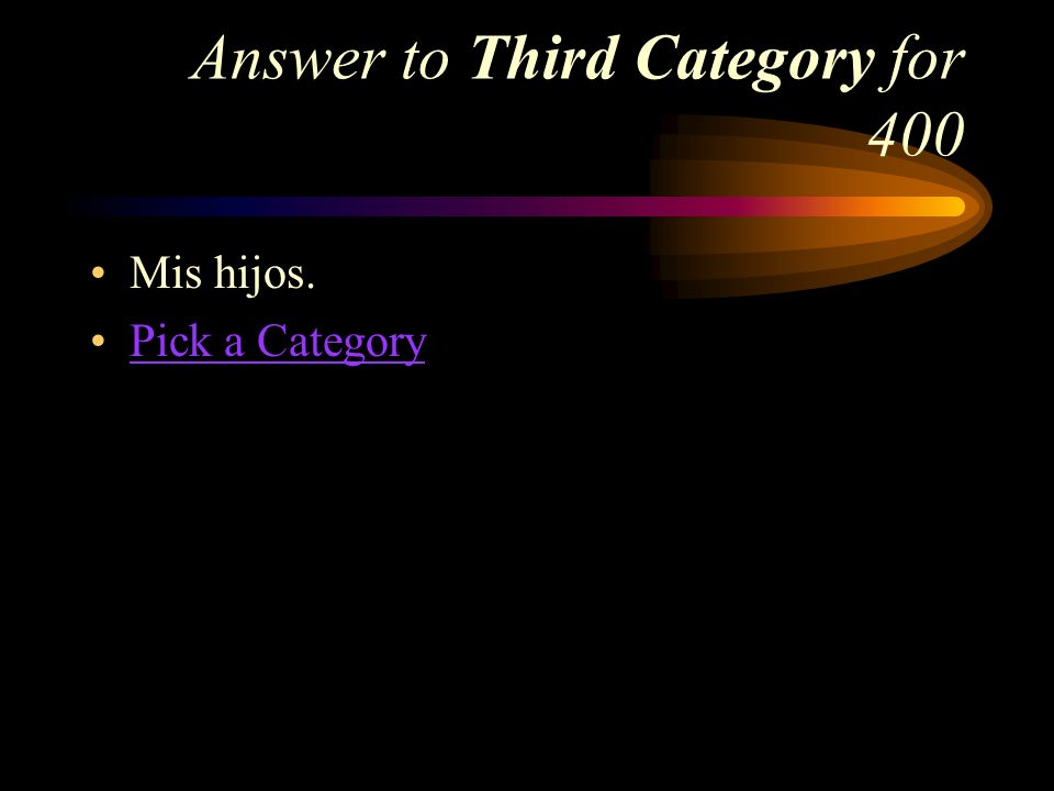 Third Category for 400 How do you say, My children in Spanish