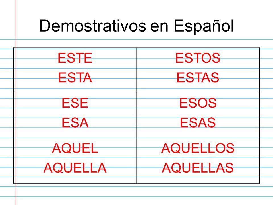 Demostrativos en Español ESTE ESTA ESTOS ESTAS ESE ESA ESOS ESAS AQUEL AQUELLA AQUELLOS AQUELLAS