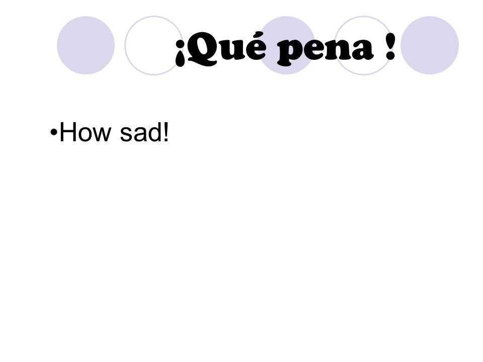 ¡Qué pena ! How sad!