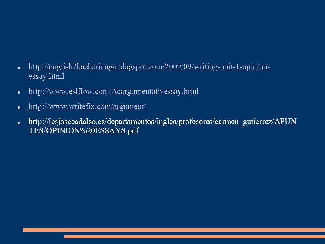 http://english2bacharinaga.blogspot.com/2009/09/writing-unit-1-opinion- essay.html http://english2bacharinaga.blogspot.com/2009/09/writing-unit-1-opin