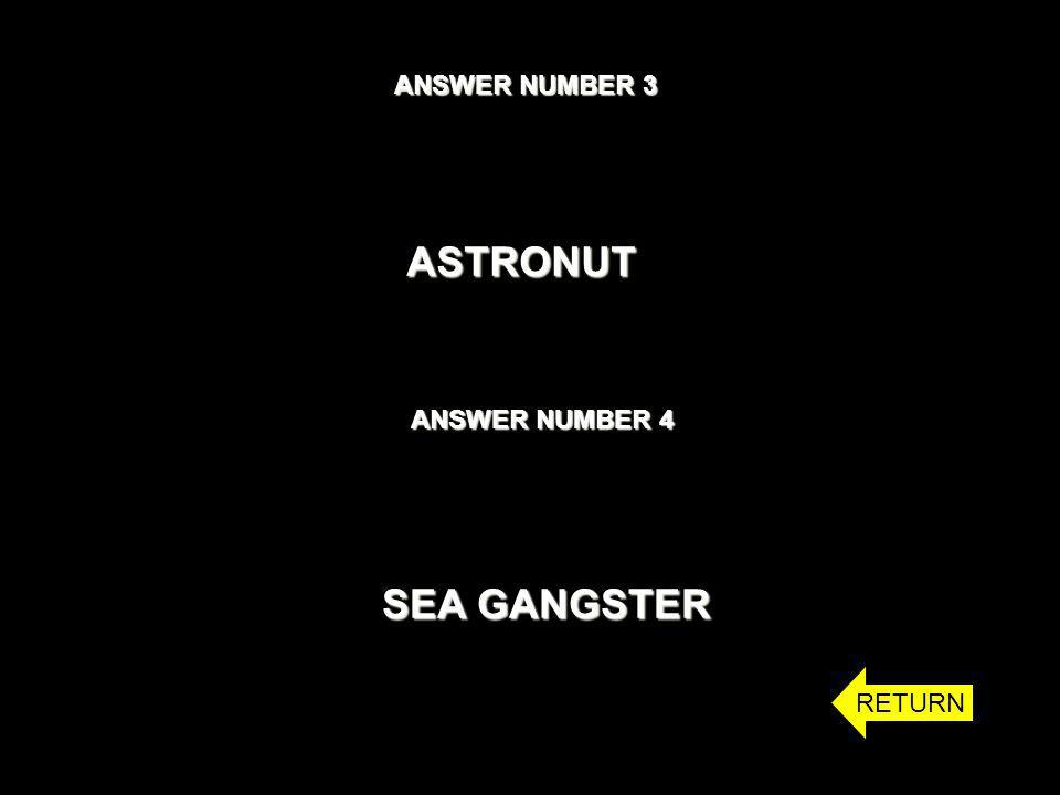 ANSWER NUMBER 3 ASTRONUT ANSWER NUMBER 4 SEA GANGSTER RETURN