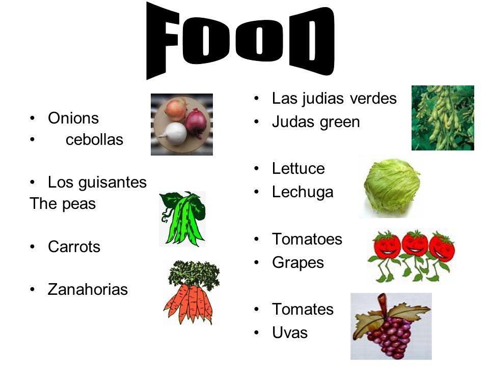 Onions cebollas Los guisantes The peas Carrots Zanahorias Las judias verdes Judas green Lettuce Lechuga Tomatoes Grapes Tomates Uvas