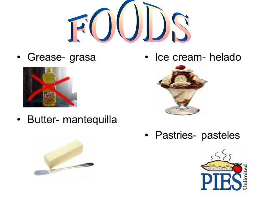 Grease- grasa Butter- mantequilla Ice cream- helado Pastries- pasteles