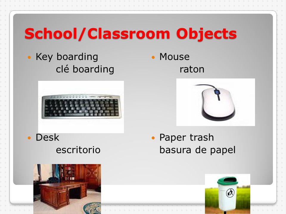 School/Classroom Objects Key boarding clé boarding Mouse raton Desk escritorio Paper trash basura de papel