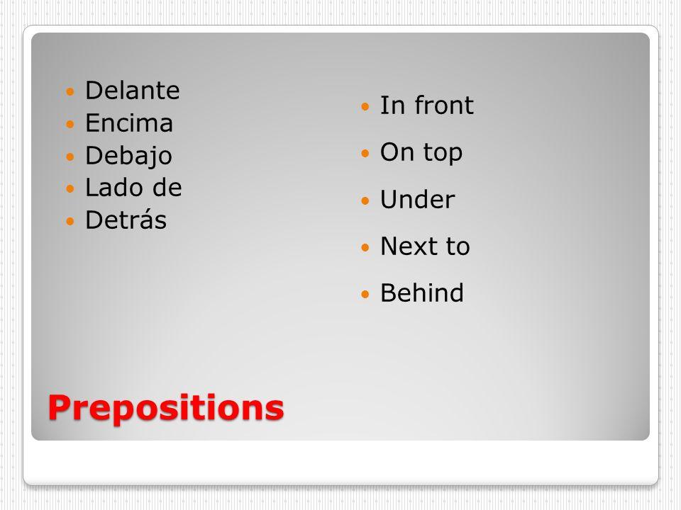 Prepositions Delante Encima Debajo Lado de Detrás In front On top Under Next to Behind