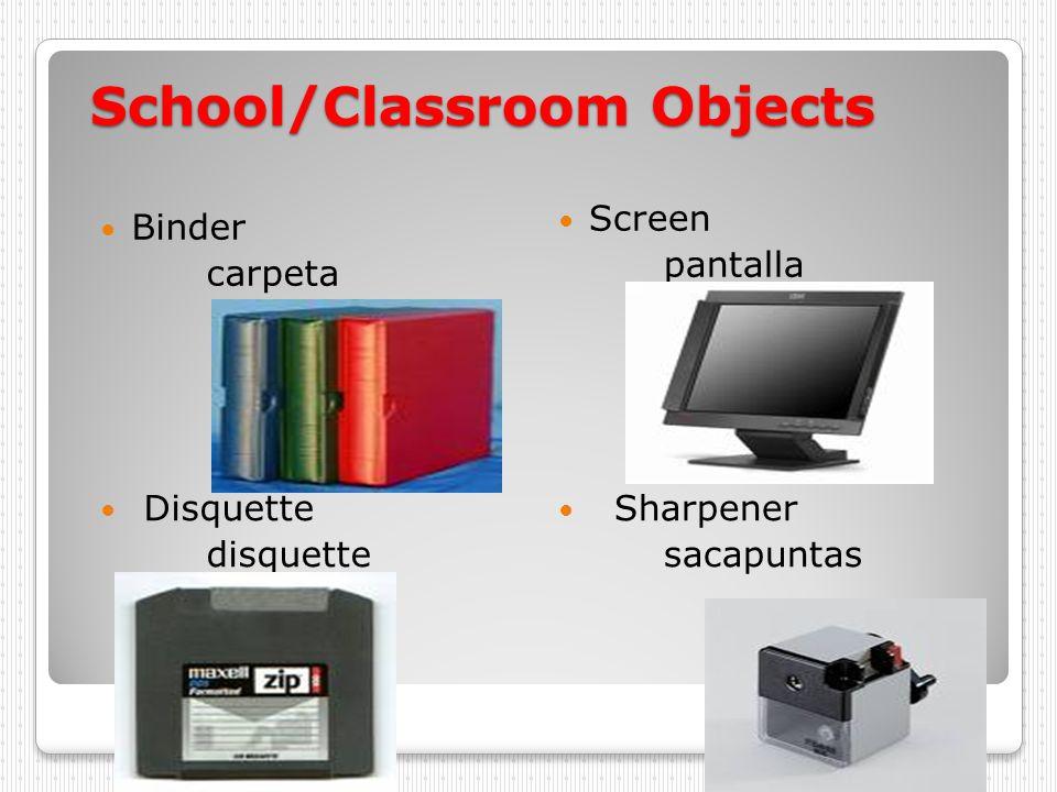 School/Classroom Objects Table mase Flag bandera Poster cartel Portfolio Lista