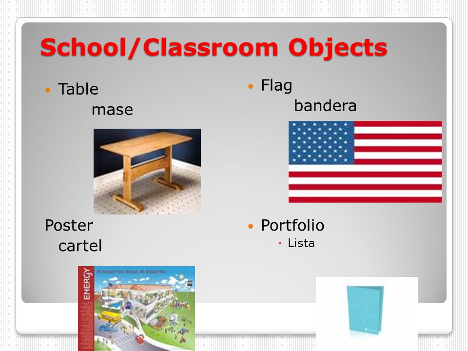 School/Classroom Objects Table mase Flag bandera Poster cartel Portfolio Lista