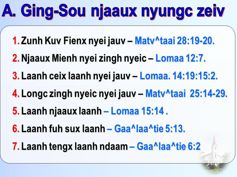 1.Zunh Kuv Fienx nyei jauv – Matv^taai 28:19-20. 2.Njaaux Mienh nyei zingh nyeic – Lomaa 12:7. 3.Laanh ceix laanh nyei jauv – Lomaa. 14:19:15:2. 4.Lon