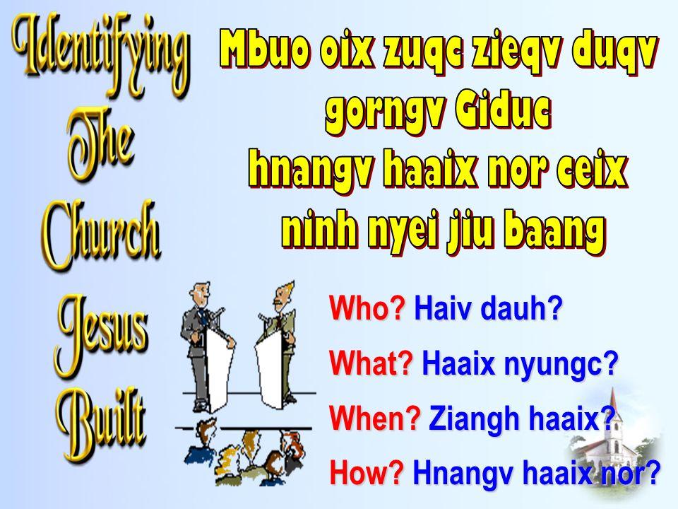 Who? Haiv dauh? What? Haaix nyungc? When? Ziangh haaix? How? Hnangv haaix nor?
