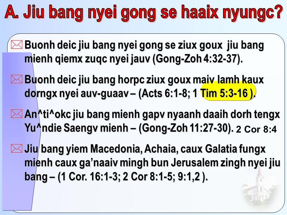 * Buonh deic jiu bang nyei gong se ziux goux jiu bang mienh qiemx zuqc nyei jauv (Gong-Zoh 4:32-37). * Buonh deic jiu bang horpc ziux goux maiv lamh k
