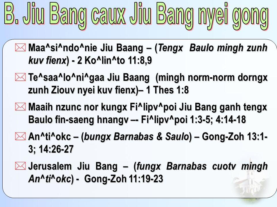 * Maa^si^ndo^nie Jiu Baang – ( Tengx Baulo mingh zunh kuv fienx ) - 2 Ko^lin^to 11:8,9 * Te^saa^lo^ni^gaa Jiu Baang (mingh norm-norm dorngx zunh Ziouv