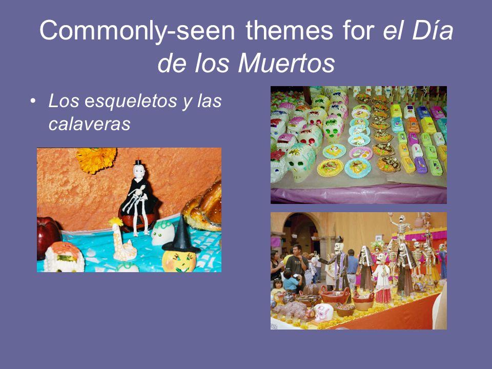 Commonly-seen themes for el Día de los Muertos Los esqueletos y las calaveras
