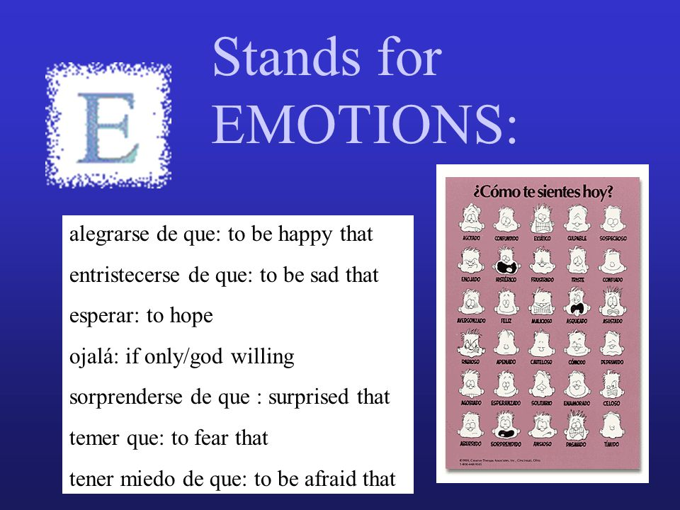 Stands for EMOTIONS: alegrarse de que: to be happy that entristecerse de que: to be sad that esperar: to hope ojalá: if only/god willing sorprenderse